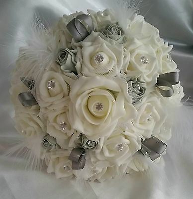 Silver Grey Ivory Wedding Flowers Bridal Feathers Bridesmaid Corsage Buttonholes