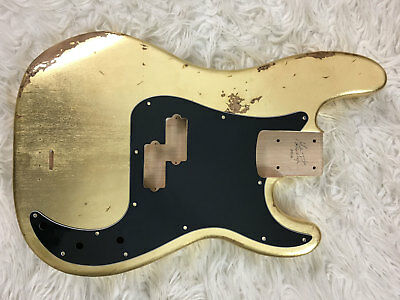 Body bass Fender Precision Bass style RELIC GOLD LEAF oro vintage aged red alder