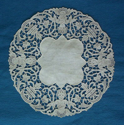 Antique Lace Doily Figural Lady Butterfly Needle Lace Reticella Linen Hand Made