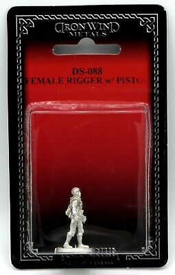 Ral Partha DS-088 Shadowrun Female Rigger with Pistol Mercenary Driver Pilot NIB