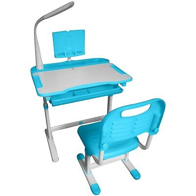 Kids Table Chair with LED Lamp Ergonomic Children Study Desk Chair and Bookstand