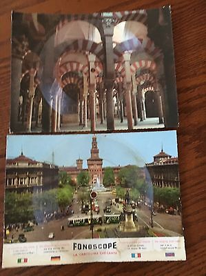 Fonoscope~the singing post card~set of 2~ 45 & 78 rpm ~Madrid  Milano