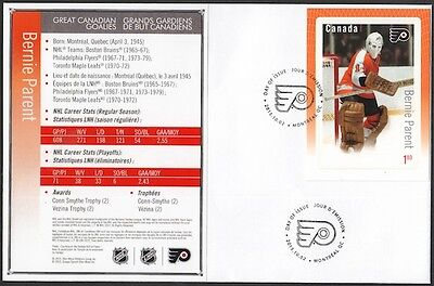 Canada # 2877 - Bernie Parent Hockey Card Stamp On First Day Cover, Only 10 Made