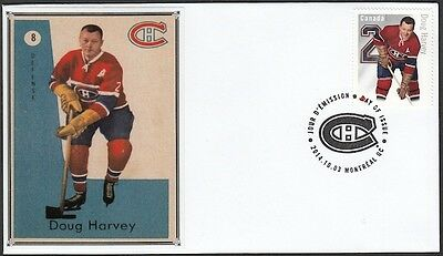 CANADA POST # 2786b.6 HONOURS DOUG HARVEY of the MONTREAL CANADIANS - FDC #6