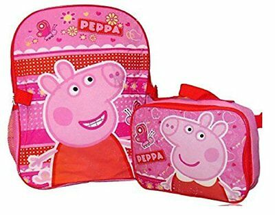 "New Peppa Pig Girls 16"" School Backpack With Insulated Lunch Bag"