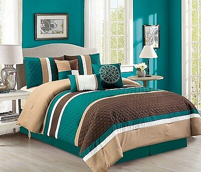 7-Pc Boston Quilted Stripes Pleated Bed-In-A-Bag Comforter Set Teal/Brown