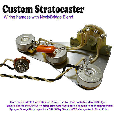 Deluxe Pre-Wired Stratocaster Strat Wiring Kit - With Neck/Bridge Blend Control