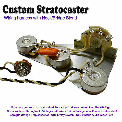 Fezz Parka  Pre-Wired Stratocaster Wiring Kit - With Neck/Bridge Blend Control