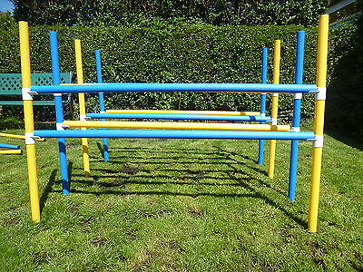 dog agility 5 heights hurdle jumps 2 poles x 118cms training equipment x 4