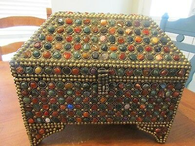 large vintage tabletop trinket/jewelry chest wih inlaid stones