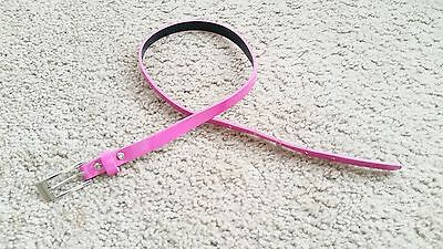 Girls Bright Pink Patent Leather Narrow Thin Skinny Adjustable Waist Belt Sz 8