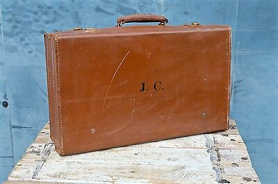 Stunning Vintage Leather Suitcase Case Car Boot Trunk Storage Shop Display J.C