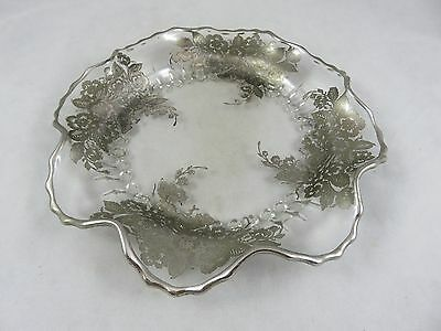 Vintage Viking Art Glass - Silver Overlay - Scalloped Dish / Plate - Queen Rose