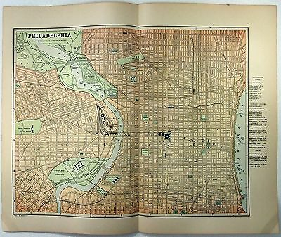 Original 1891 Street & Railroad Map of Central Philadelphia PA by Fisk & Company