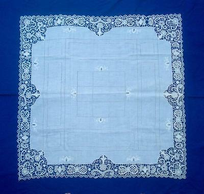 "Antique Italy Embroidered Needle Lace Tablecloth Scarf 35"" Square"