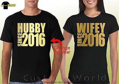 9cabaed168 Couple Shirts Hubby Wifey Tees Matching His and Hers Tshirt Gold CUSTOMIZE  YEAR
