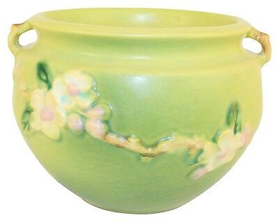 Roseville Pottery Apple Blossom Green Jardiniere 300-4