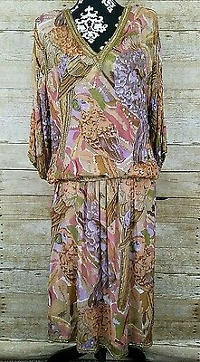 Vintage Multicolor Beaded Sequins 2 Piece Top Skirt Set Art Deco Size Medium M