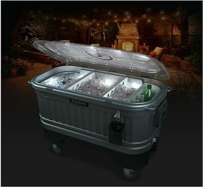 Coolers On Wheels Patio Cooler Ice Chest Bar Igloo LED Light Party Portable  New