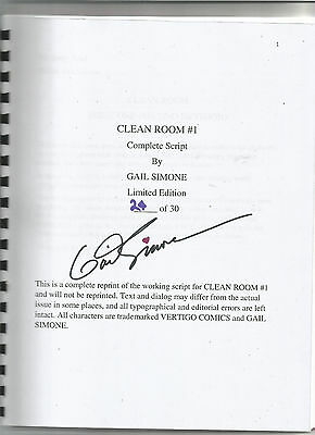 Clean Room #1 Complete Script by Gail Simone Limited Edition 24/30 Signed NM