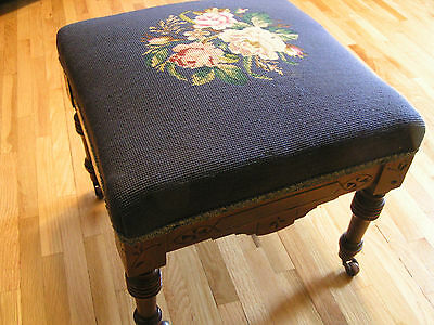 Antique Victorian Walnut FOOTSTOOL Foot Stool Carved, wood casters, needlepoint
