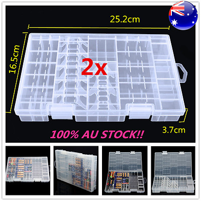 2Pcs AAA AA C D 9V Battery Storage Case Holder Hard Plastic Box Organiser White