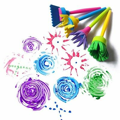 Kid Painting Tools Drawaing Flower Seal Sponge Brush DIY Educational Toy 4 pcs