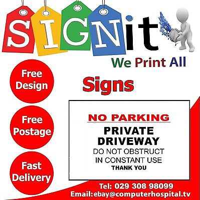 No Parking Private Driveway Plastic Correx, Aluminium Or Sticker Sign - 0069