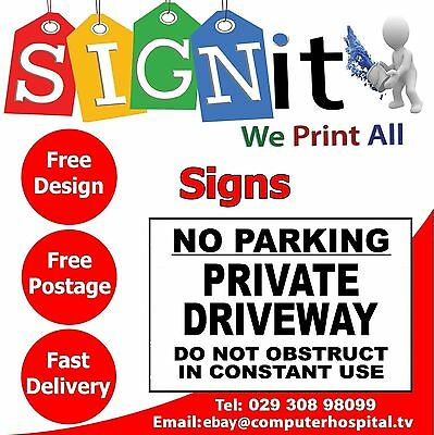 NO PARKING Private Driveway Plastic Correx, Aluminium Or Sticker Sign - 0073