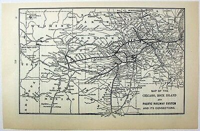 Original 1898 Map of the Chicago, Rock Island & Pacific Railway System