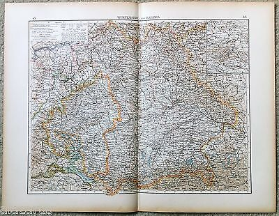 Large Original 1898 Map of Germany - Wurtemberg & Bavaria by Velhagen & Klasing