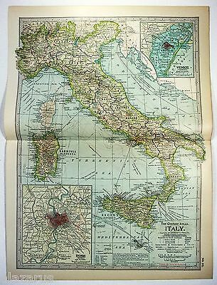 Original 1902 Map of Italy by The Century Company