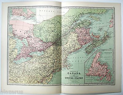 Original 1875 Map of The Dominion of Canada by J Bartholomew
