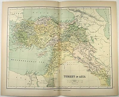 Original Map of Turkey in Asia - Armenia, Kurdistan, Palestine & Syria c1875