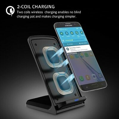 Genuine Samsung Galaxy S7 Edge S6 Fast Qi Wireless Charger with Stand Black UK