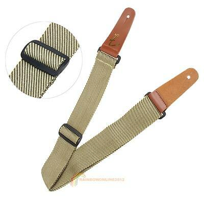 Adjustable Polyester Strap Leather End Acoustic Tweed Electric Bass Guitar Belt