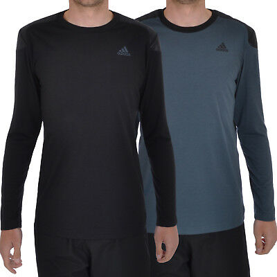 adidas Performance Mens Climalite Long Sleeve Training Gym Top - Black / Blue