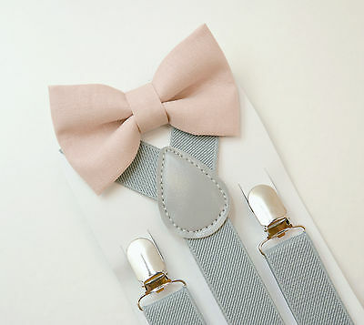Kids Boys Mens Light Gray Suspenders & Dusty Pink Bow tie SET Infant - ADULT