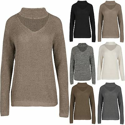Womens Long Sleeve Ladies Winter Warm Chunky Knitted Keyhole Cut Jumper Top