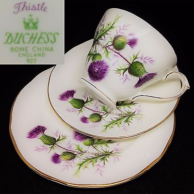 Duchess 1960s Thistle 922 Vintage English Bone China Trio Set Cup Saucer Plate