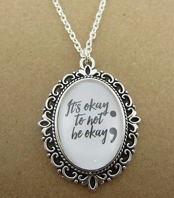 SemiColon It's Okay To Not Be Okay Necklace New Gift Bag Mental Health Awareness