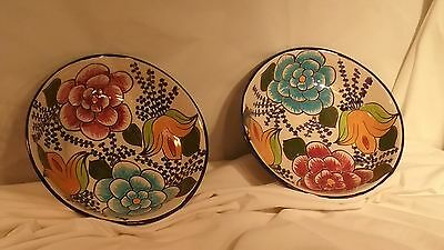 "Set of 2-GORGEOUS CASTILLO HECHO EN MEXICO HAND PAINTD  POTTERY-7.5"" BOWL"