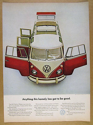 1964 VW Volkswagen Bus 'Anything this homely' color photo vintage print Ad