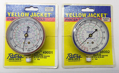 "Yellow Jacket 49001 & 49002 2-1/2"" R12/22/502 Gauge Combo (no manifold)"