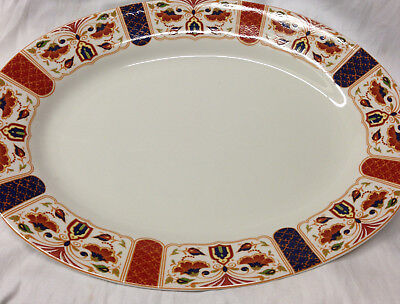 "Queen's Imari Oval Serving Platter 14 7/8"" Blue Red Green Floral Design Arches"