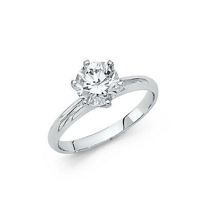 14K Solid White Gold 1.0 ct Round Cut Diamond Solitaire Engagement Ring