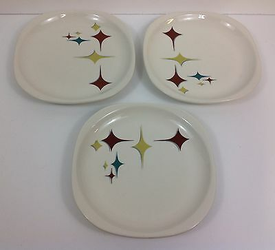 "Syracuse China 5-J Made In USA 8.5"" Plates (3) Ray gun Gothic Googie Starlight"