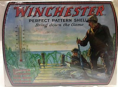 WINCHESTER Shotgun Thermometer Metal Embossed Sign 14 x 10  Made In USA