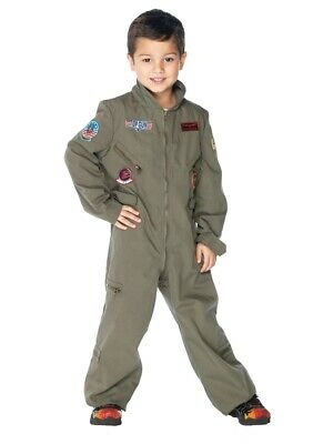 Top Gun Flight Suit Child Costume Boys Maverick Goose Pilot Navy Military