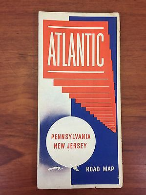 Vintage 1950's Atlantic Gas & Oil Collectible Advertising PA. Road Map Rat Rod